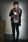 Black-gap-cardigan-gray-thrifted-cardigan-brown-h-m-scarf-white-uo-shirt
