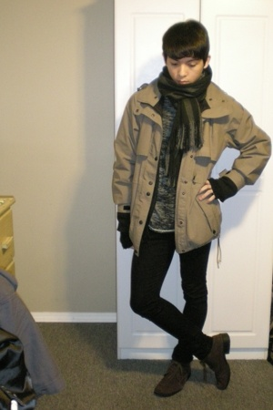 thrifted coat - Urban Outfitters sweater - lady dutch pants - Value Village boot