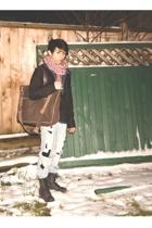 diy scarf - H&M coat - banana republic accessories - Aldo boots - diy jeans - Am