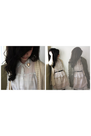 cream dress dress - white button up shirt - cameo pin accessories