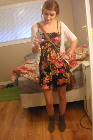 navy Target dress - eggshell Forever 21 cardigan - light brown Forever 21 boots