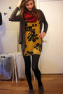 Mustard-silence-noise-dress-red-forever-21-scarf-army-green-forever-21-car
