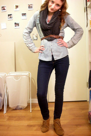 bronze deena  ozzy boots - navy Forever 21 jeans - periwinkle Target shirt - gra