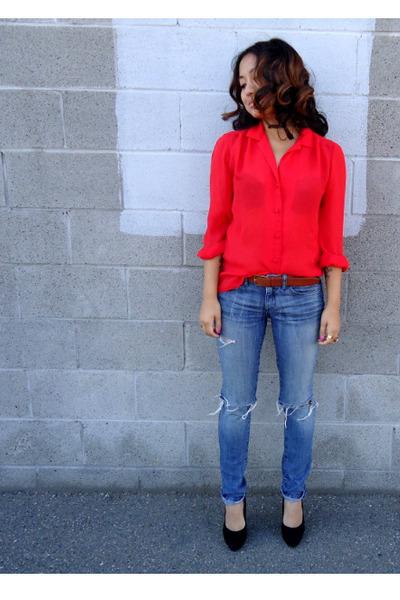 thrifted blouse - Forever 21 jeans - thrifted belt - UrbanOG heels
