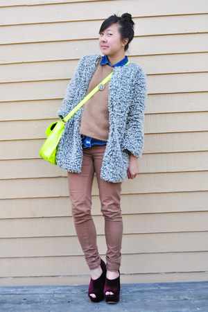 tba wedges - shaggy jacket unknown jacket - fuzzy vest unknown sweater