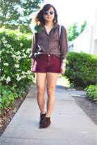 burgundy shorts Urban Outfitters shorts - dooney & burke bag