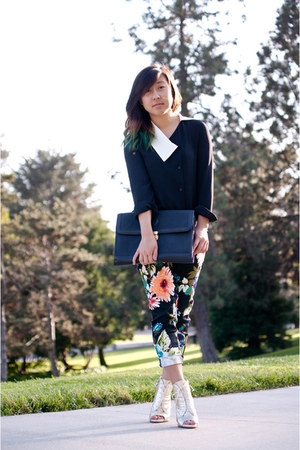 turquoise blue floral trousers H&M pants - bronze Zara shoes