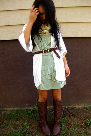 green Urban Outfitters dress - white Charlotte Russe cardigan - brown Wet Seal b