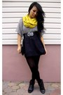 Mustard-forever-21-scarf-heather-gray-charlotte-russe-top-black-h-m-skirt-