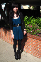 green dress - black Betsey Johnson tights - black Topshop boots - black coach pu