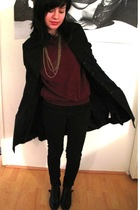 black liquid coat - black Kill City jeans - black Topshop boots