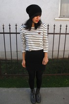 white H&M shirt - black H&M skirt - gray vintage boots - red vintage accessories
