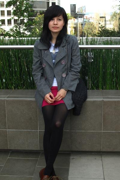 gray coat - pink American Apparel skirt - black Zara purse