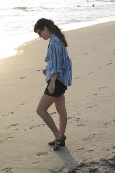 Diane Von Furstenberg shirt - f-troupe shoes - Ray Ban glasses