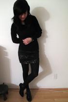 black skirt - black boots