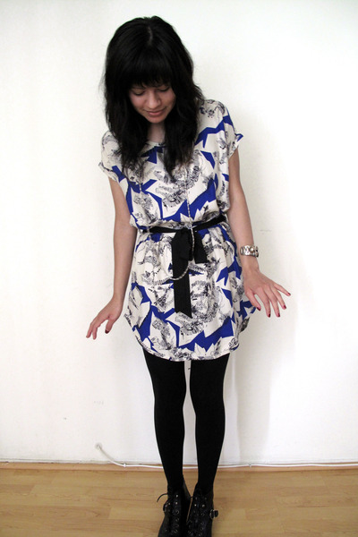blue Eighty Sixty dress - black Betsey Johnson tights - black Topshop boots