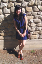 blue Arden B dress - brown Steve Madden shoes - brown Forever 21 bag