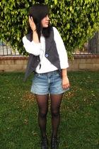 gray Urban Outfitters vest - white banana republic shirt - blue vintage shorts -