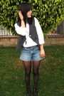 Gray-urban-outfitters-vest-white-banana-republic-shirt-blue-vintage-shorts-