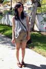 Beige-shorts-silver-vest-brown-shoes