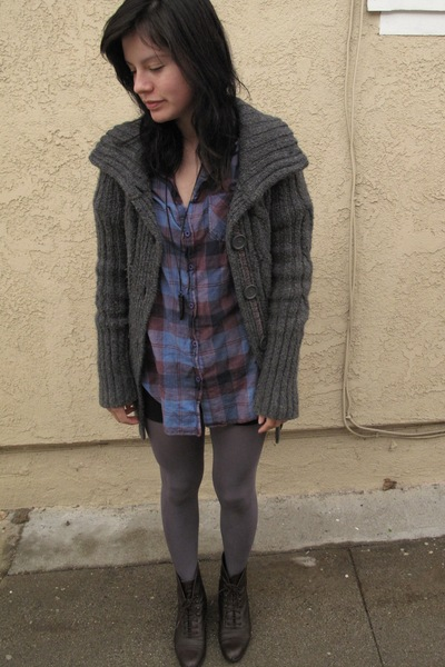 purple Topshop blouse - gray Target sweater - brown vintage from Ebay boots