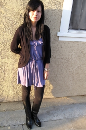 Frenchi sweater - lux uo dress - vintage boots
