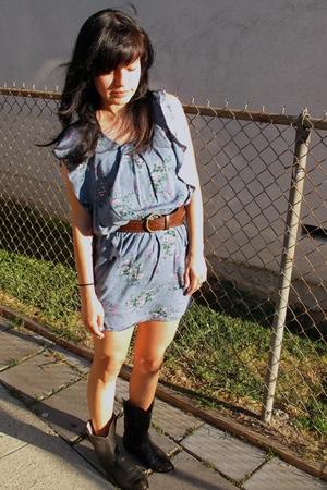dress - vintage belt - vintage boots