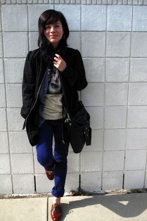 blue Insight pants - brown Steve Madden shoes - black H&M jacket - black Marc by