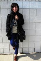 blue Insight pants - brown Steve Madden shoes - black H&M jacket - black Marc by