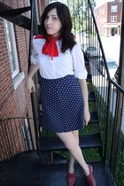 White-young-captive-vintage-blouse-blue-thrifted-skirt-red-vintage-shoes
