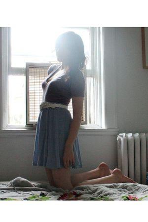 blue Zara skirt - purple aa t-shirt - white thrifted belt