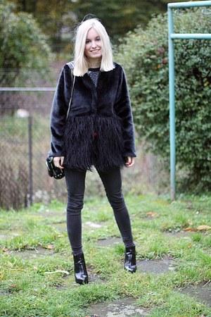 black faux fur no name jacket - black Bershka boots - black Alexander Wang bag