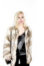 Beige-faux-fur-h-m-jacket-black-theyskens-theory-bag