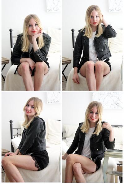 black vintage from Ebay jacket - white random shirt - black Ebay shorts