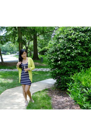 navy Forever 21 dress - yellow Target cardigan - silver Ross sandals
