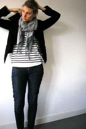 Gap jeans - Topshop coat - Topshop boots - H&M top - gift scarf - Witchery neckl