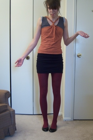charlotte russ top - H&M top - Target skirt - wallmart tights - Macys shoes