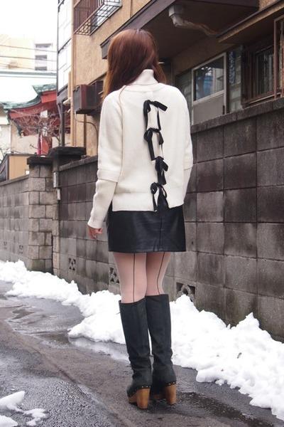black feather coat Velnica coat - black nadesico boots - white SACRA sweater