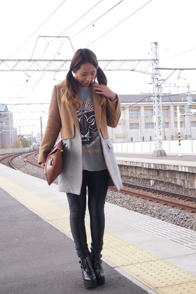 camel CROON A SONG coat - black busted Jeffrey Campbell boots - brown DHOLIC bag
