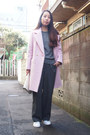 Light-pink-kaon-coat-charcoal-gray-gvgv-pants-heather-gray-knitted-toga-top