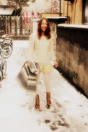 ivory KIIRA sweater - tawny lace-up boots ozoc boots