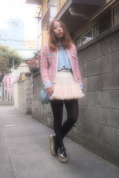 bubble gum tweedy jacket Velnica jacket - light blue denim shirt used shirt