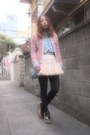 Bubble-gum-tweedy-jacket-velnica-jacket-light-blue-denim-shirt-used-shirt