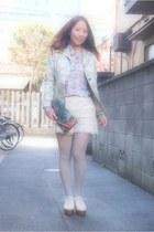 teal floral purse vintage bag - dark khaki floral jacket vintage jacket
