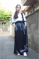 navy john lawrence sullivan skirt - black LORINZA bag