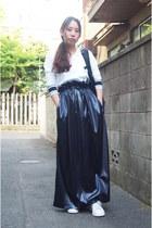 navy john lawrence sullivan skirt - black LORINZA bag