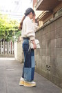 Navy-gvgv-jeans-ivory-leather-clutch-dholic-bag-ivory-jun-mikami-romper