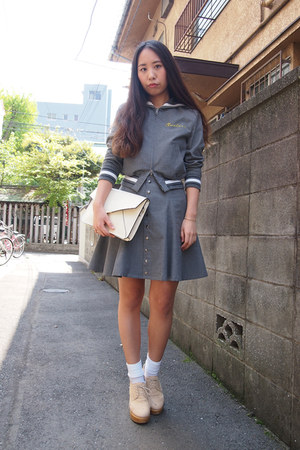 heather gray sailor collar GVGV blazer - white white leather DHOLIC bag