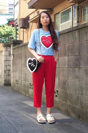 red GVGV pants - black cushion heart GVGV bag - white nine sandals
