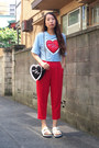 Black-cushion-heart-gvgv-bag-white-nine-sandals-red-gvgv-pants